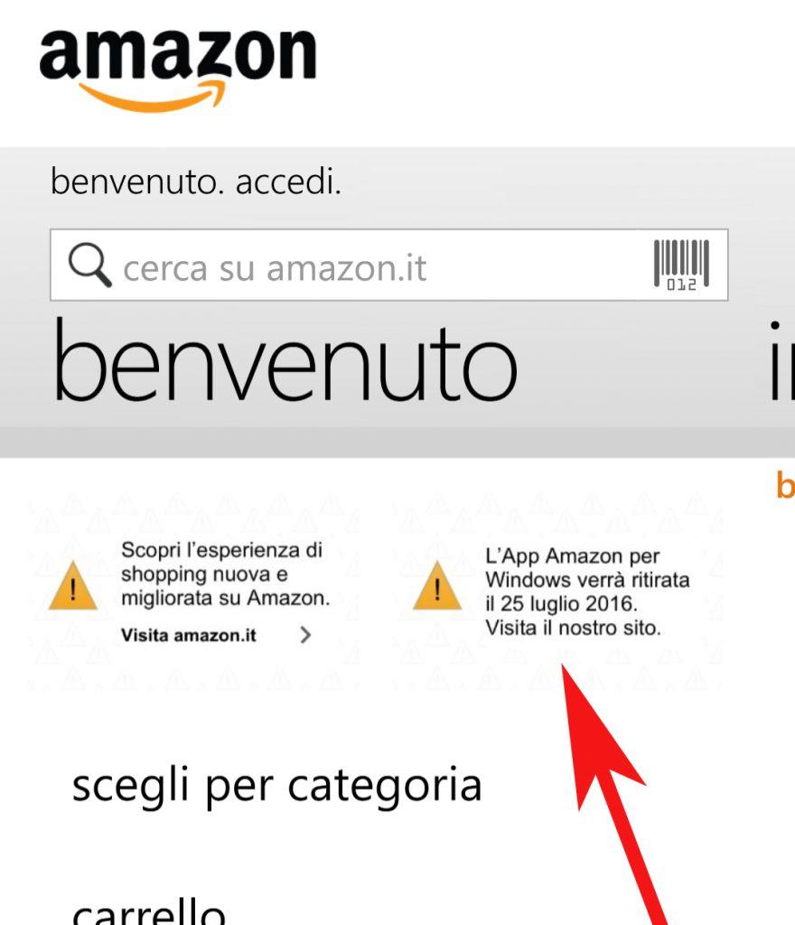 Ufficiale l 39 app amazon sar ritirata dal windows store il for Amazon sito ufficiale