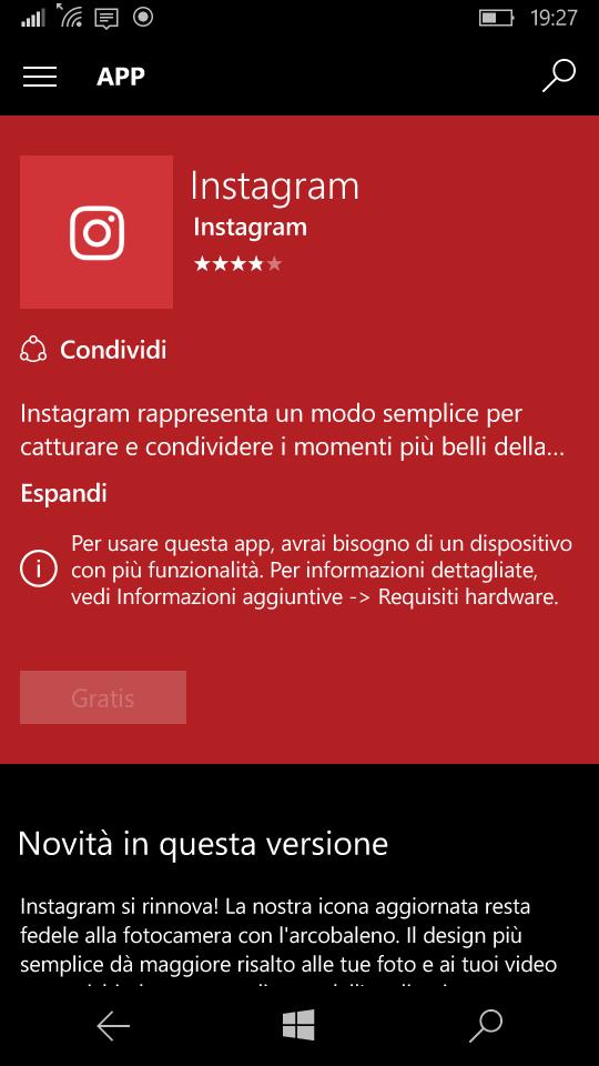 Instagram non installabile