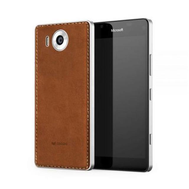 Custodia Mozo in pelle (colore cognac) per Lumia 950