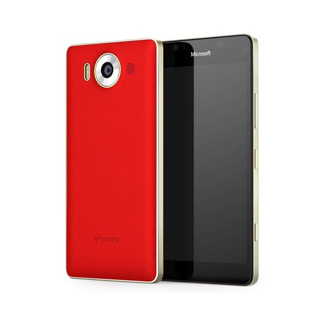 Custodia Mozo in pelle (colore rosso con profilo dorato) per Lumia 950
