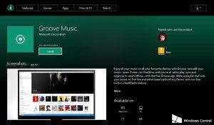 Groove Musica su Xbox One Store