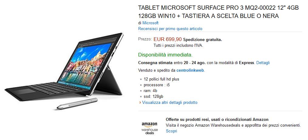 Offerta Amazon Surface Pro 3