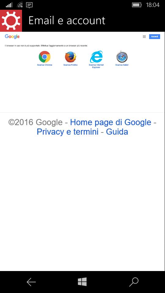 Errore Gmail