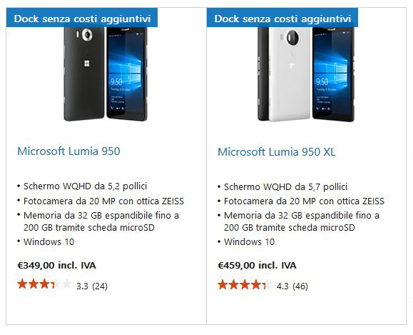 Lumia 950 e 950 XL con Display Dock