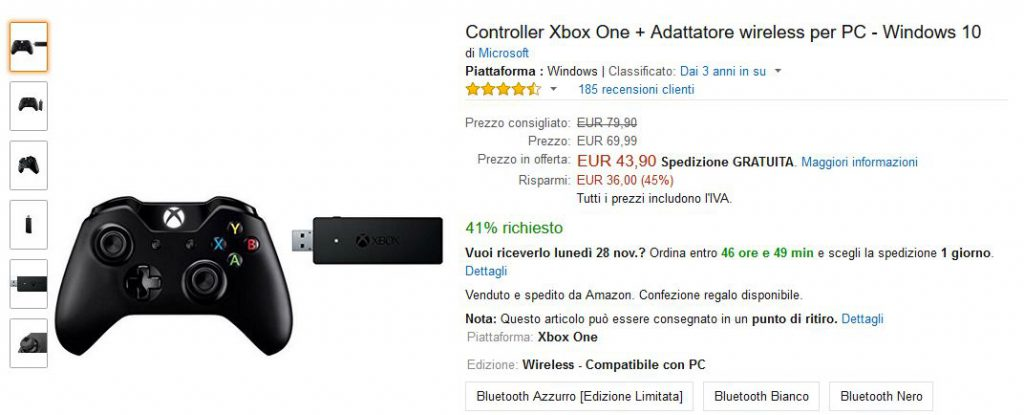Controller Xbox One + Adattatore wireless per PC