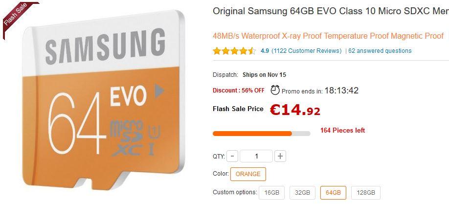 Micro SD Samsung EVO da 64 GB