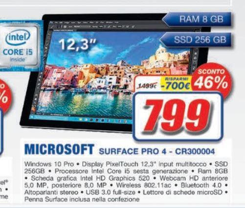 Offerta Euronics Nova (Roma): Surface Pro 4 con Intel Core i5, SSD da 256 GB e 8 GB RAM a soli 799 Euro