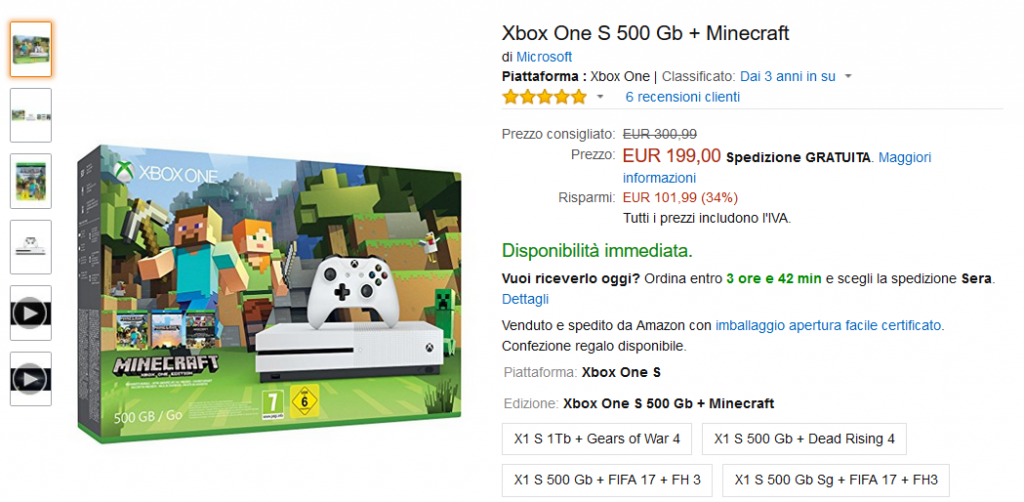 Xbox One S da 500 GB + Minecraft