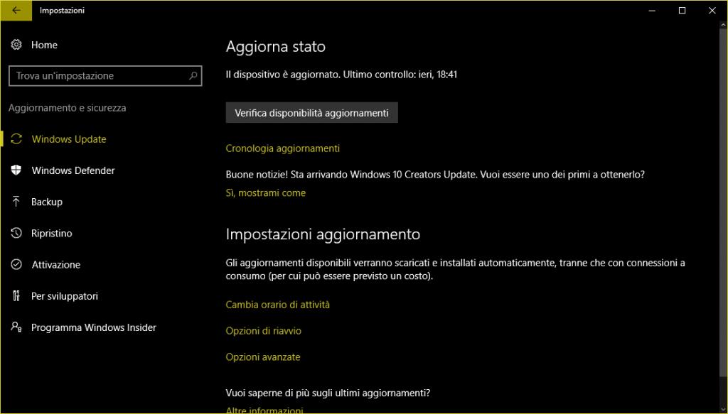 Windows 10 Creators Update sta arrivando