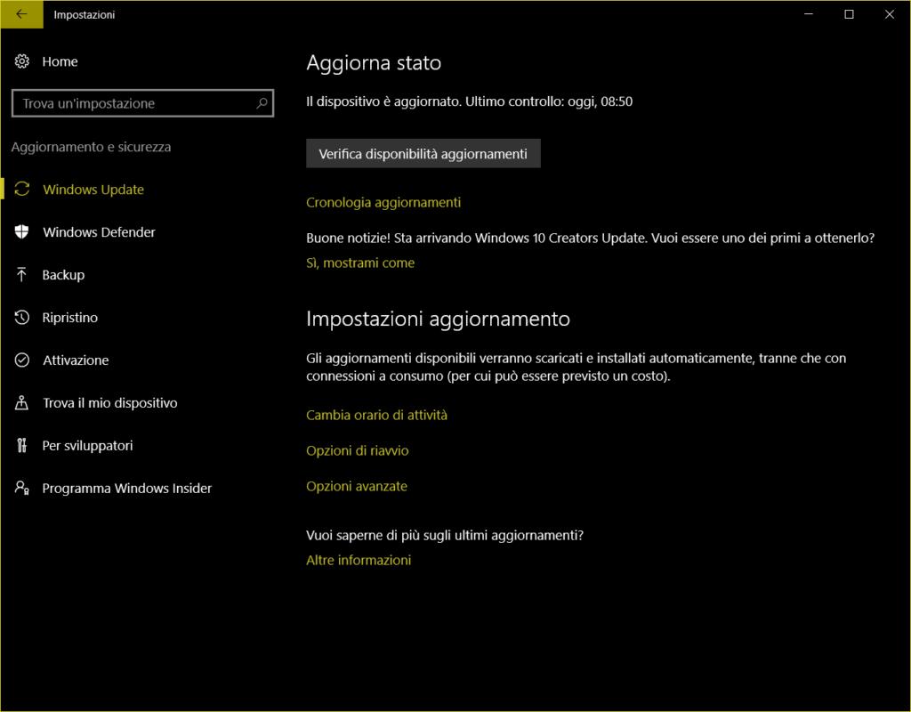 Update in Windows 10 AU