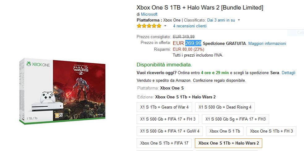 Offerta Amazon: Xbox One S 1TB + Halo Wars 2