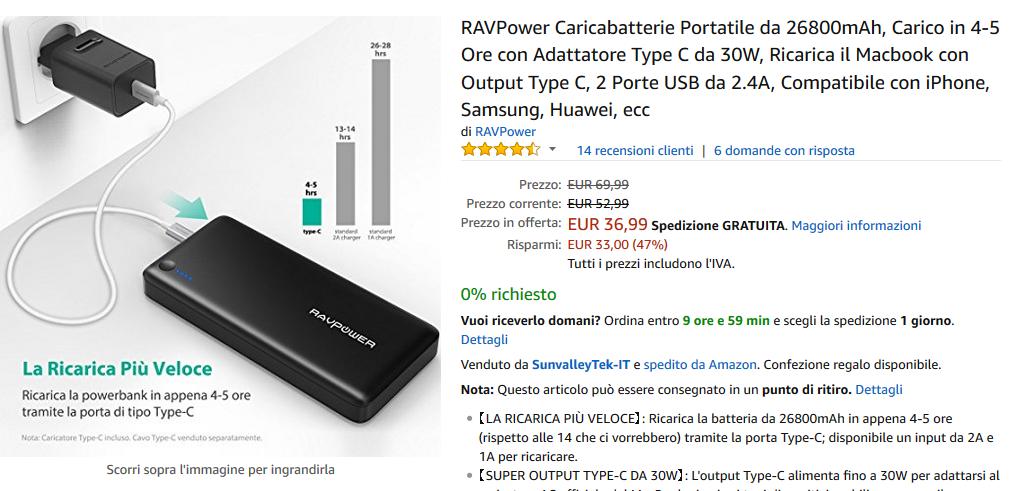 Powerbank RAVPower da 26800mAh con Adattatore USB Type-C da 30W