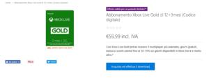 Offerta Xbox Live Gold