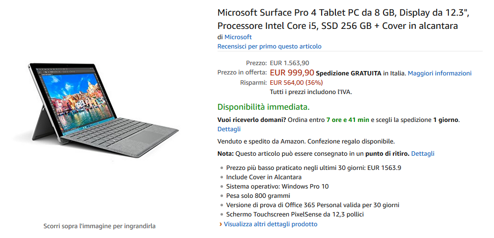 Offerta Amazon Prime: Surface Pro 4