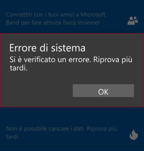 Errore Microsoft Health
