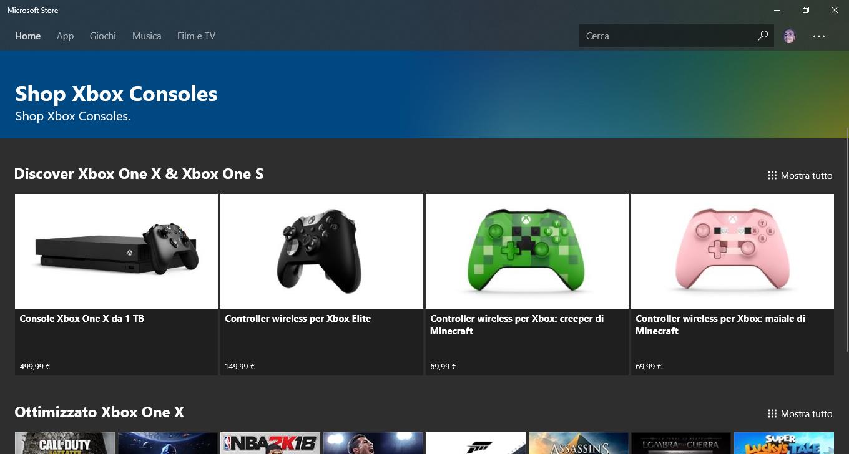 L'app Microsoft Store si aggiorna (e sezione Xbox Console ...