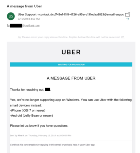 Mail di Uber