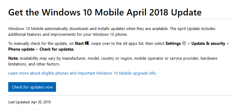 April 2018 Update per Windows 10 Mobile