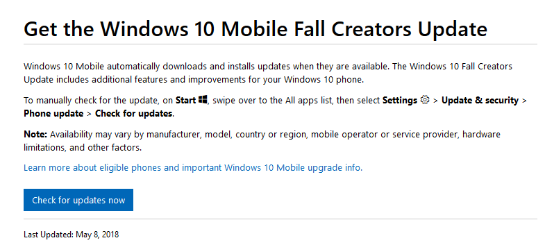 How to get Fall Creators Update