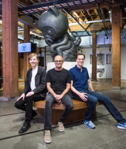 Chris Wanstrath (CEO di Github), Satya Nadella e Nat Friedman
