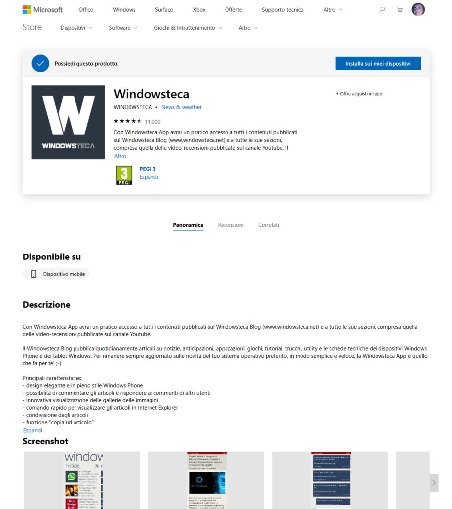 Windowsteca su Microsoft Store