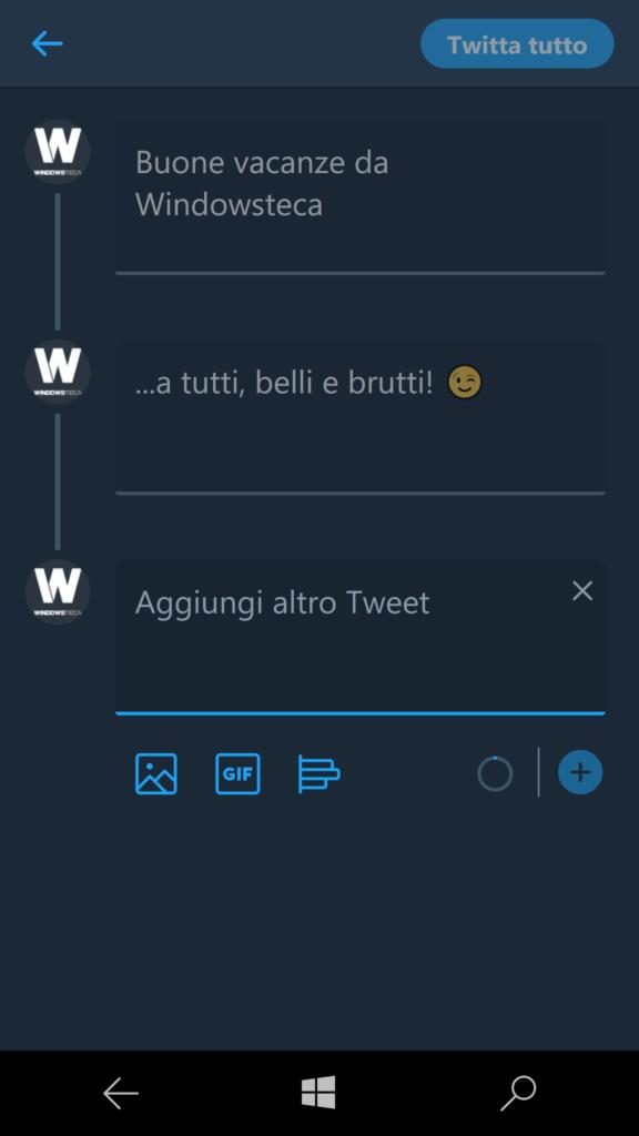 Twitter - messaggi multipli