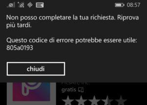 Errore 805a0193
