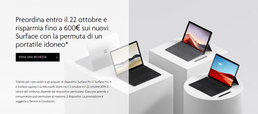 Acquista un Surface e permuta il tuo vecchio laptop