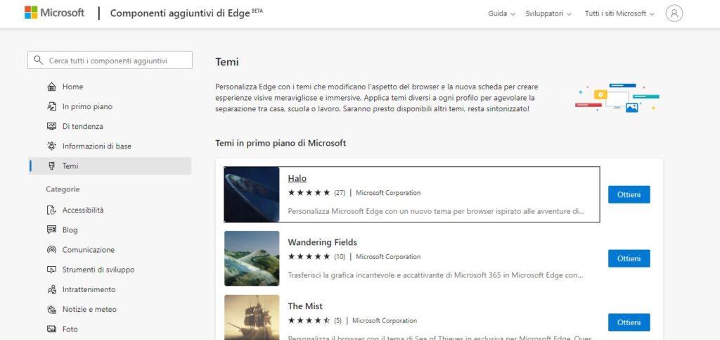 Temi per Microsoft Edge