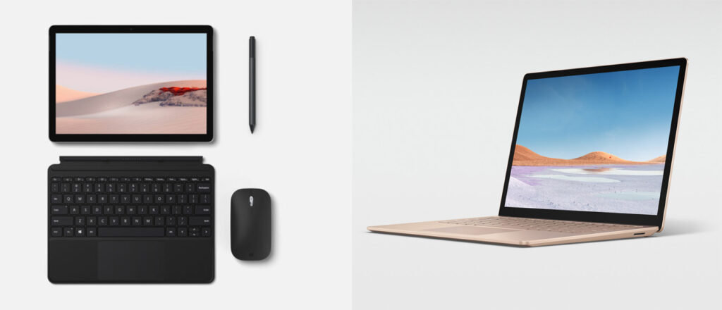Surface Go 2 e Surface Laptop 3
